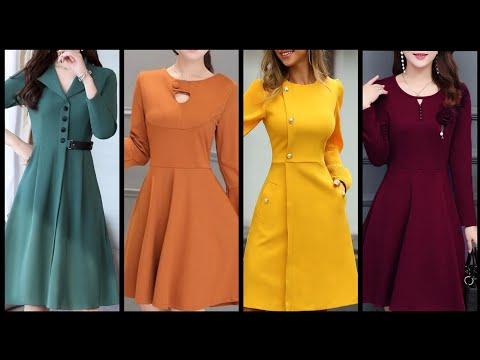 Designer Skater Dresses Design Collection 2020 Plain Fabric Frocks