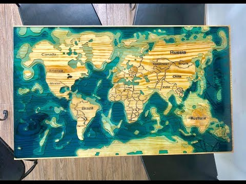 HOW TO MAKE WOOD EPOXY RESIN COFFEE TABLE - CNC WORLD MAP