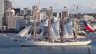 Sailing Ship TS Esmeralda Departing Ports of Auckland New Zealand - 2019 (Long))