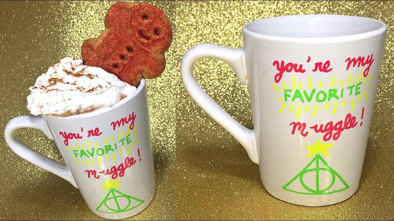 diy holiday drink gingerbread hot cocoa harry potter christmas gift mug idea youtube