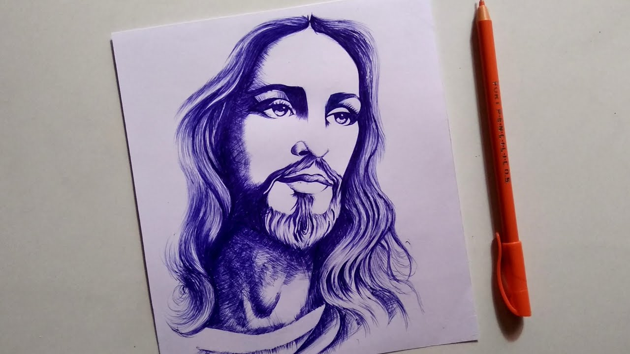 Lord Jesus Christ Pen Drawing Step By Step For Beginners Youtube