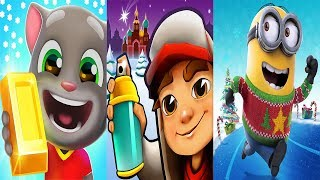 talking tom gold run vs subway surfers vs despicable me minion rush new update christmas - Minion Rush Christmas