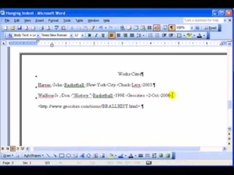how to create a hanging indent in word 2016