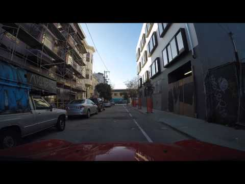 Early morning driving in the Mission District in San Francisco