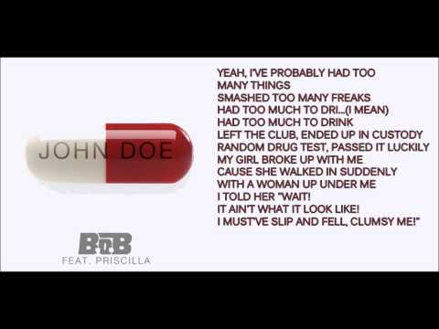 B.o.B. John Doe ft.Priscilla lyrics on screen video