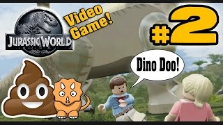 LEGO JURASSIC WORLD! Co-op Part 2 - Welcome to Jurassic Park (Beware of Dino Poop!)