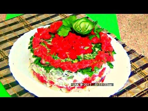Салат из креветок с авокадо, грейпфрутом и рукколой