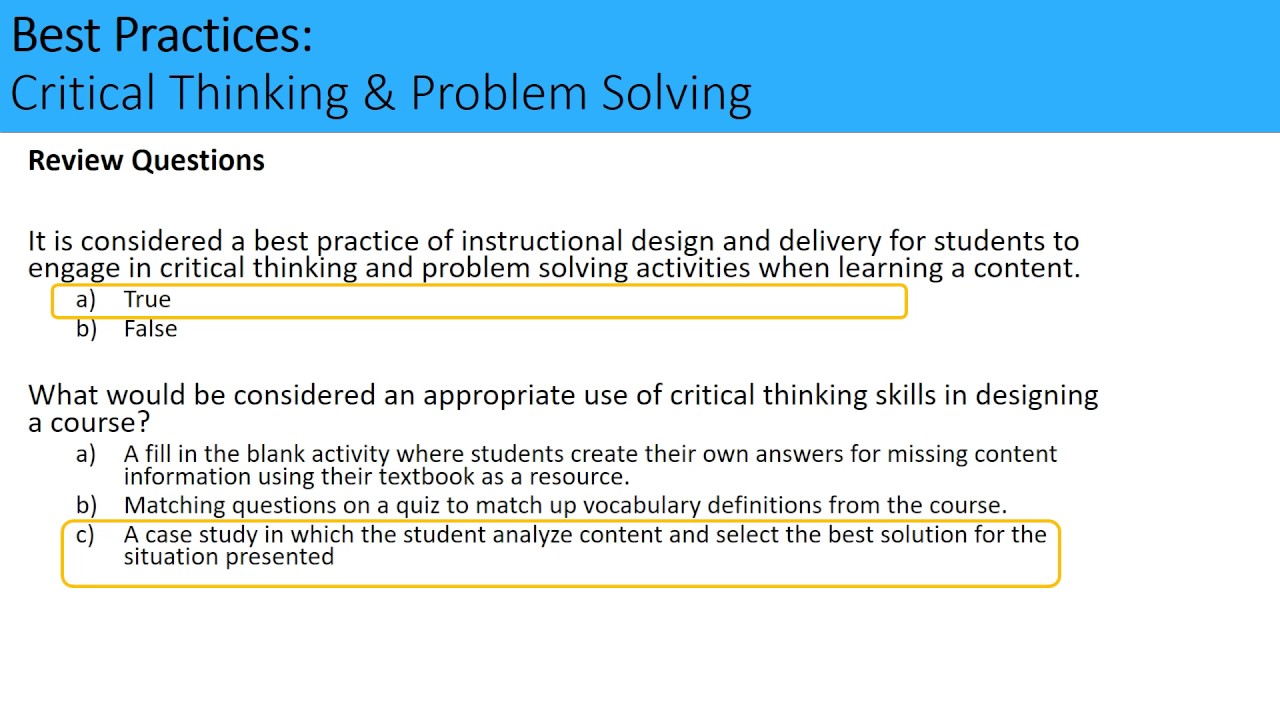 critical thinking and creative problem solving course