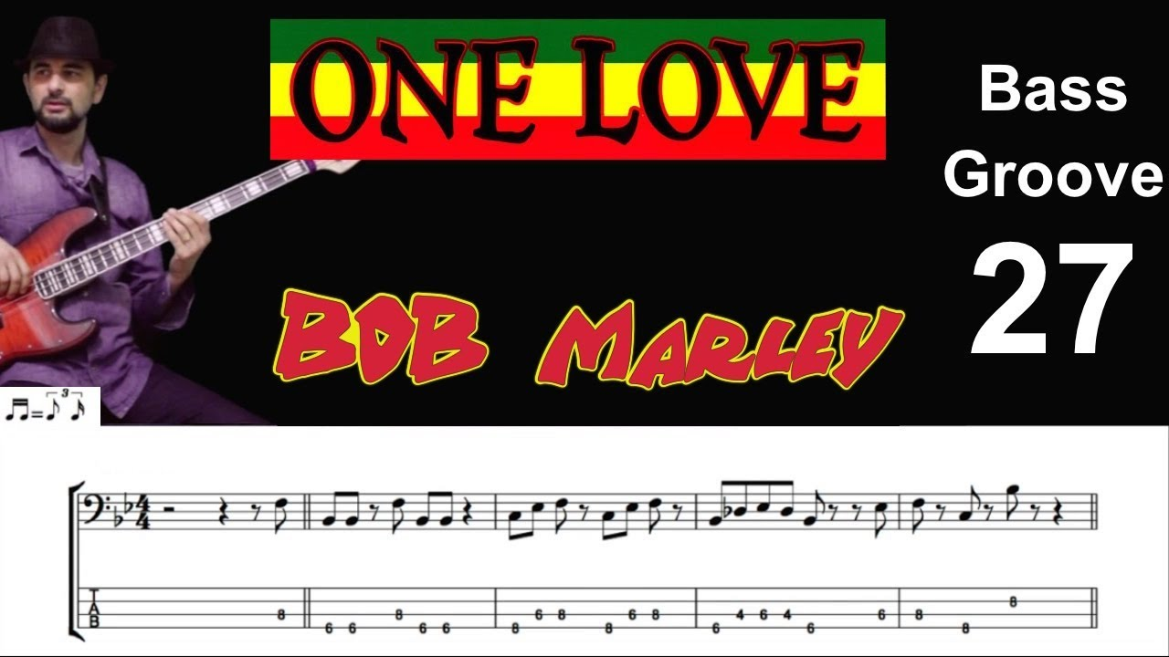 ONE LOVE (Bob Marley) How to Play Bass Groove Cover with Score & Tab Lesson