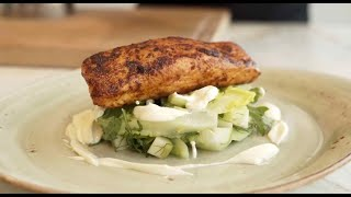 Paprika marinated Salmon with Summer vegetables and Soured cream
