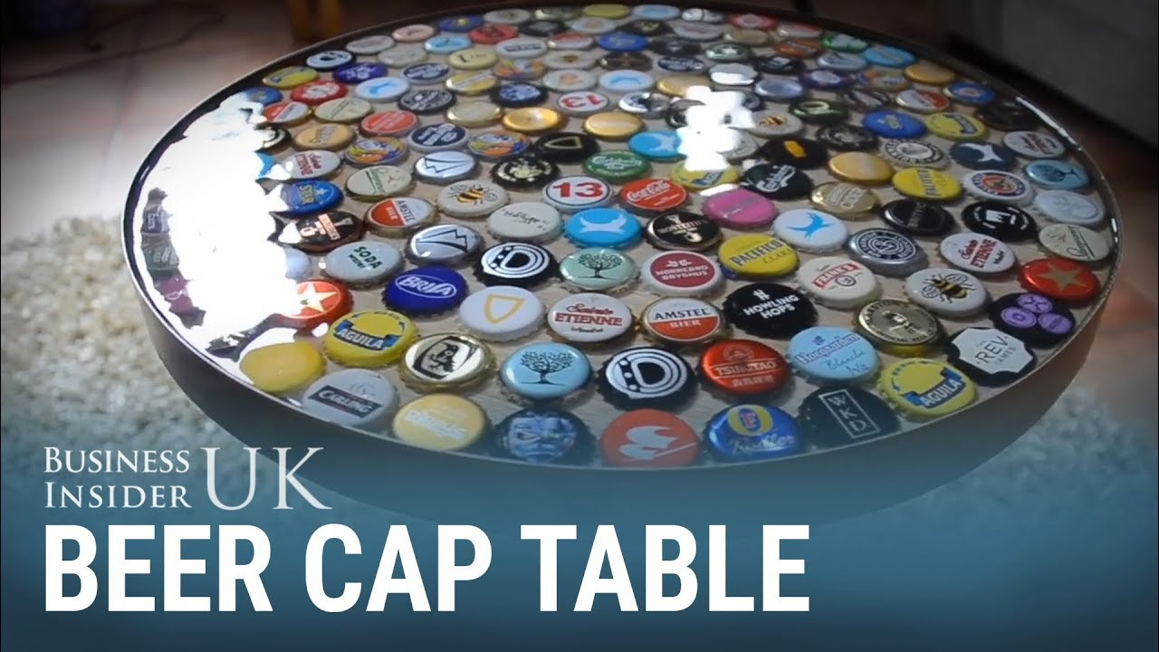 This bottle cap table was made over a weekend for 60 for What to make with beer bottle caps