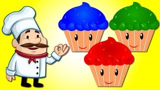 The Muffin Man  Nursery Rhymes / Learn colors with Muffin Man