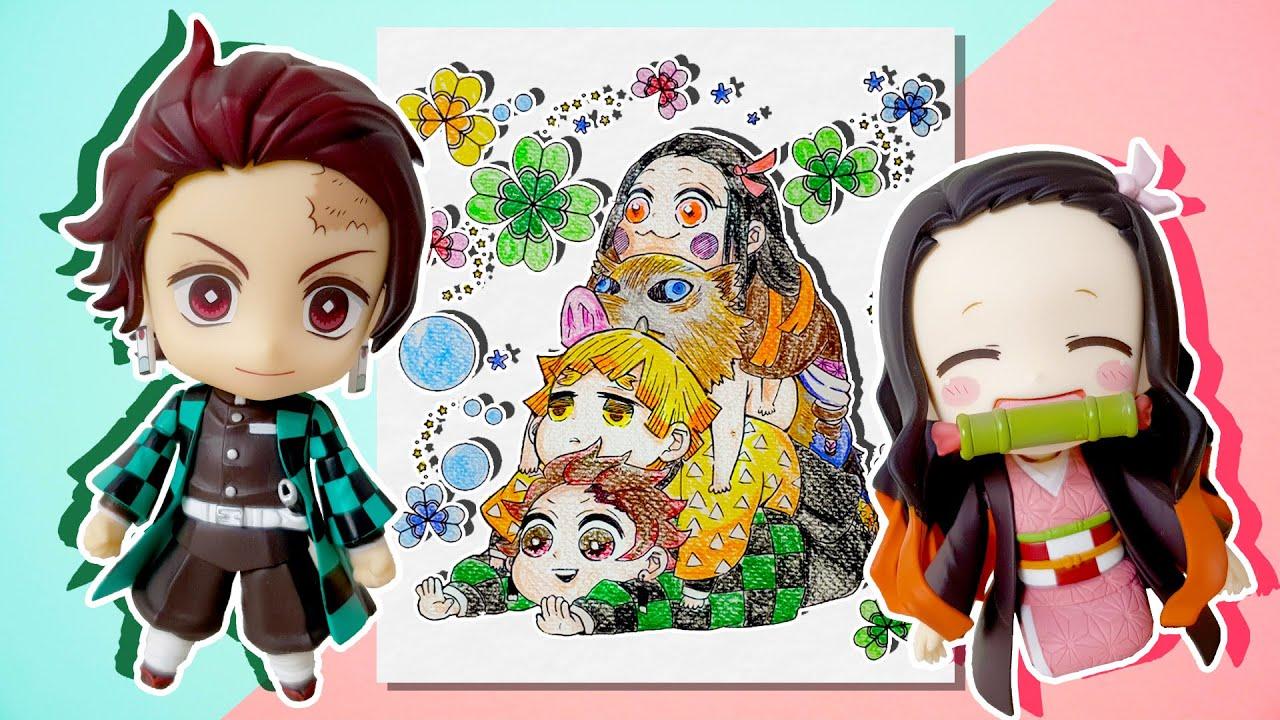 귀멸의 칼날 탄지로, 네즈코, 젠이츠, 이노스케 색칠 놀이! 외로운 네즈코를 위해 카마보코대를 색칠하자♥