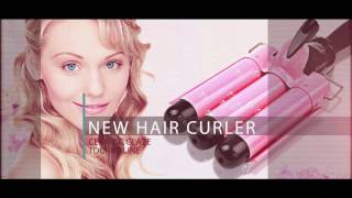 CkeyiN 3 Barrels Wave Curler Ceramic Curling Iron Wand LCD Display Hair Curler  Tool HS199