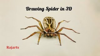 How to draw 3d drawing - a Giant Spider