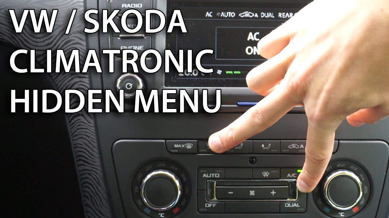 how to enter hidden menu in climatronic vw skoda  golf