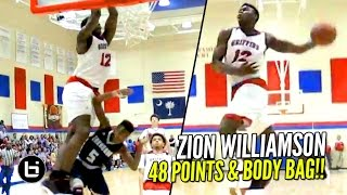 Repeat youtube video Zion Williamson Scores 48 & SONS Defenders!! 2000 Career Points! Full Highlights
