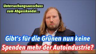 Abgas-Untersuchungsausschuss: Gibt's für die Grünen keine Parteispenden mehr der Autoindustrie?
