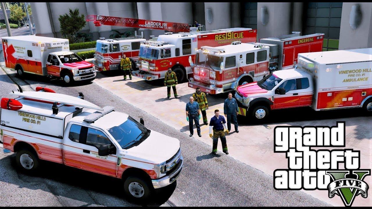 GTA 5 Firefighter / Paramedic Mod - New Vinewood Hills Fire Department &  EMS Pack