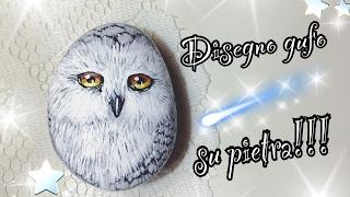 Disegno gufo su pietra | How to draw owl | Disegni su pietra | Art |