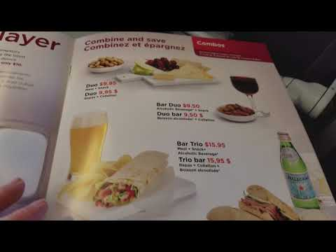 Air Canada Rouge Inflight Menu
