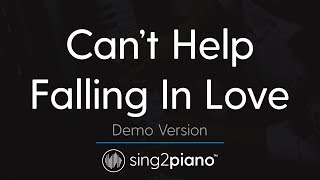 Can 39 t Help Falling In Love Piano karaoke