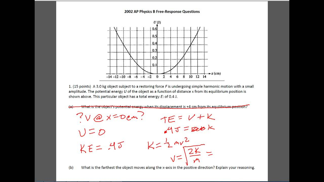 2002 AP Physics B Question 1 - YouTube