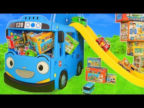 Tayo the Little Bus Friends Toys - Pelleteuse, camion , Camion de pompier, voiture de police