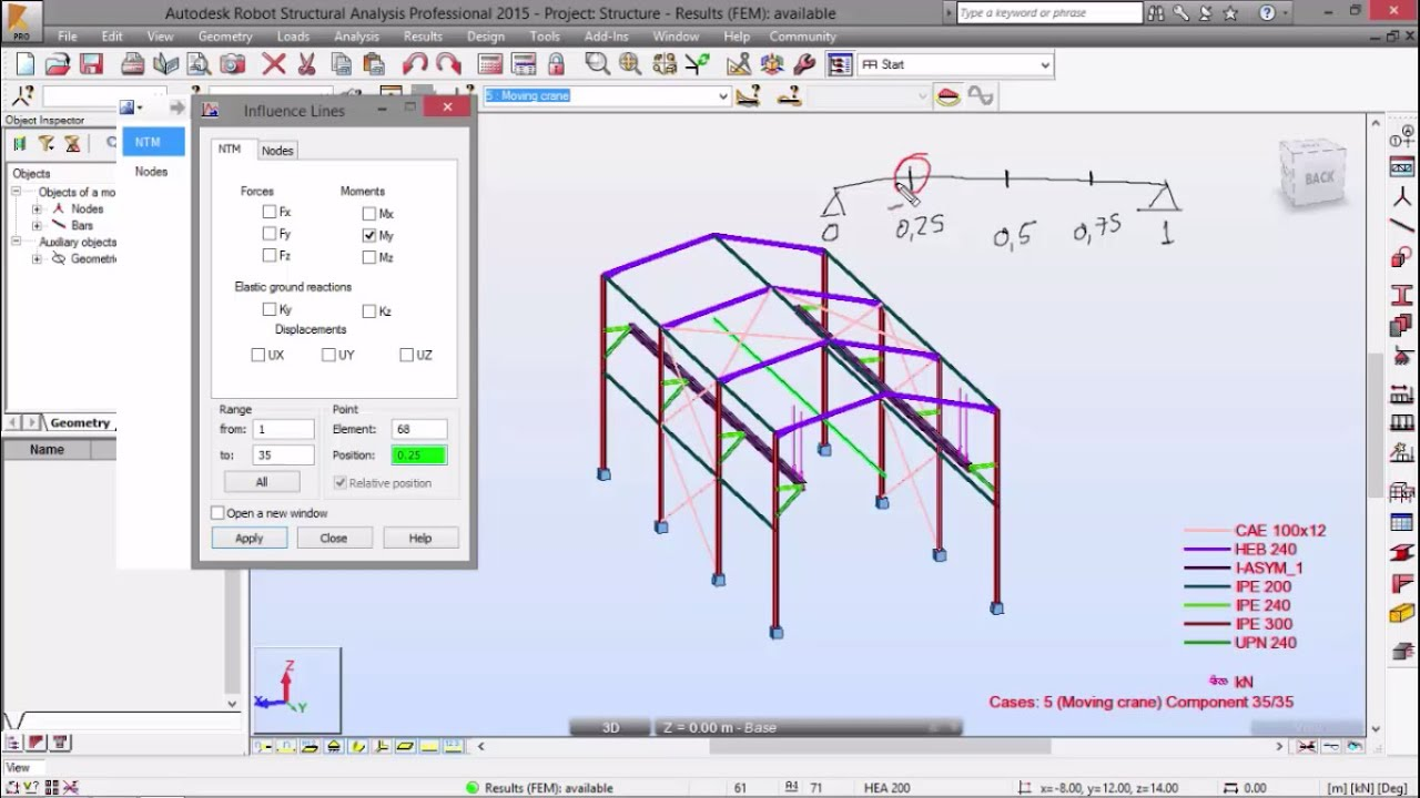 Exercise 5 - Part 6 - Moving Load - 3D Frame (Robot Structural Analysis)
