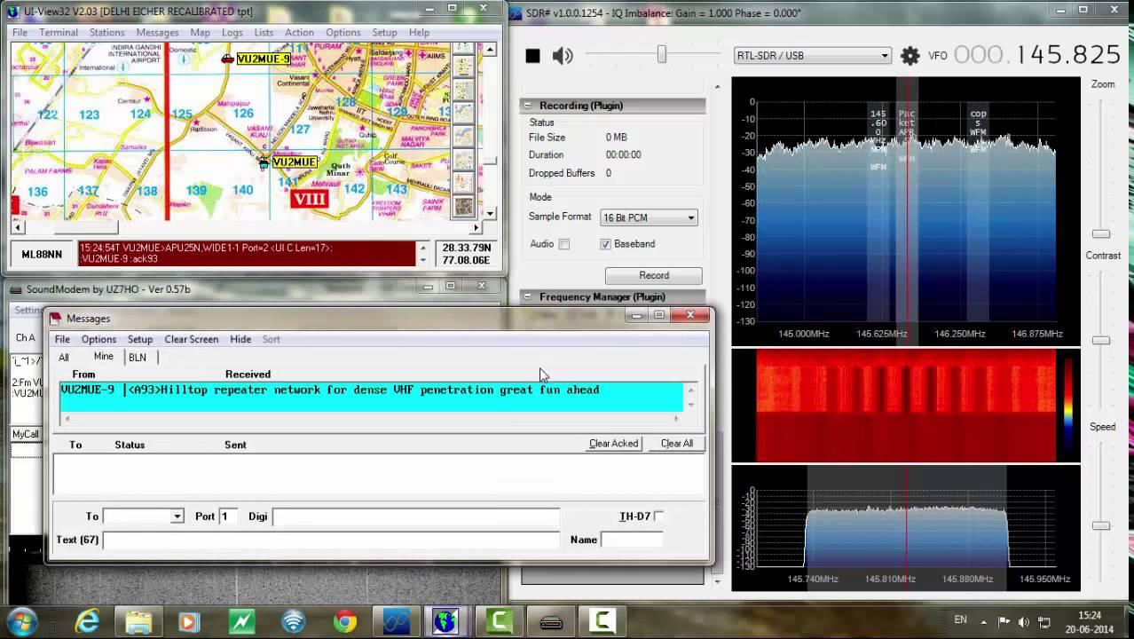 APRS decoding using RTL2832 SDR dongle+Sdrsharp+Soundmodem software  TNC+UIview
