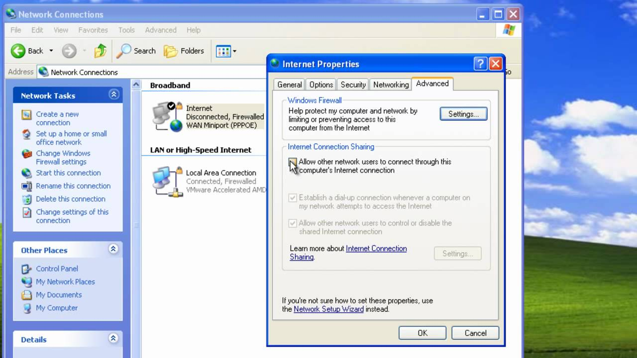 How to Set Up Internet Connection Sharing for Windows XP: 13