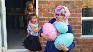 Kids pretend play GREEDY GRANNY In Real Life with GIANT EGG surprise