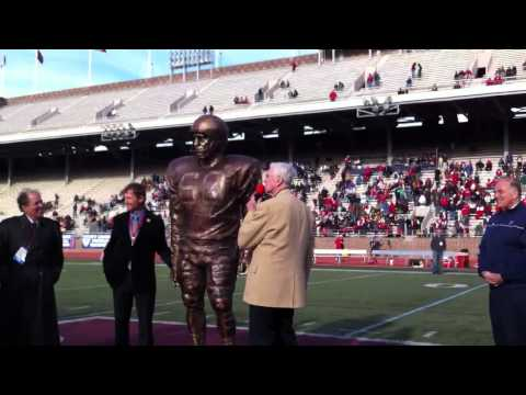 Chuck Bednarik Statue Revealing On The Field.