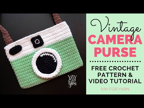 Vintage Camera Purse - Crossbody Bag or Pouch - Free Crochet Pattern | Yay For Yarn