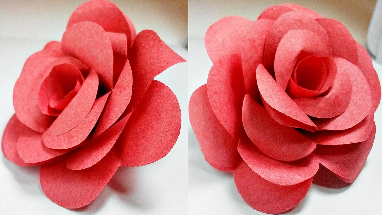 Paper flower 3d yelomdiffusion paper flowers rose diy tutorial easy for children origami flower mightylinksfo