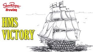 How to draw a Man of War sailing ship