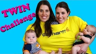 TWIN CHALLENGE! Baby Challenge with Conjoined Twins Taking Care of Newborns DisneyCartoys