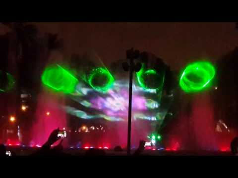 laser fountain show in Lima, Peru