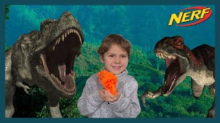 Raptor Dinosaurs Sneak Attack | Giant T-Rex Encounter | J-Team Nerf Battles