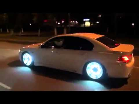 White Led Glowing Rims On Bmw 7 Series At Night Youtube