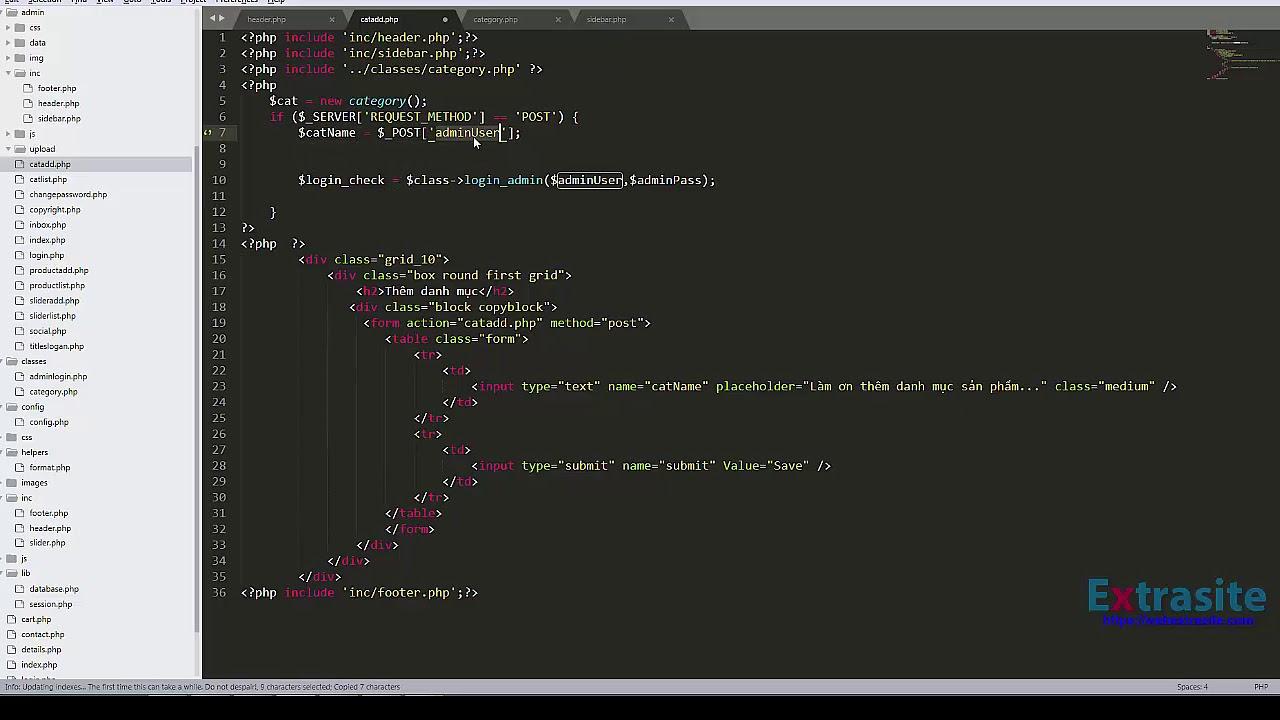 Bài 6 : Lập trình Website PHP mô hình MVC - Tạo danh mục sản phẩm trong Admin
