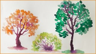 Как нарисовать ДЕРЕВО за 1 МИНУТУ акварелью! Простой способ How To Draw A Tree | Art School