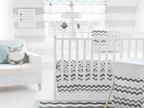 New My Baby Sam Chevron 3 Piece Crib Bedding Set, Aqua Gray Best Youtube Original