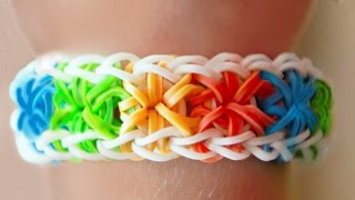 Como fazer pulseira de elástico: Starburst (explosão de estrelas) #LoomBands