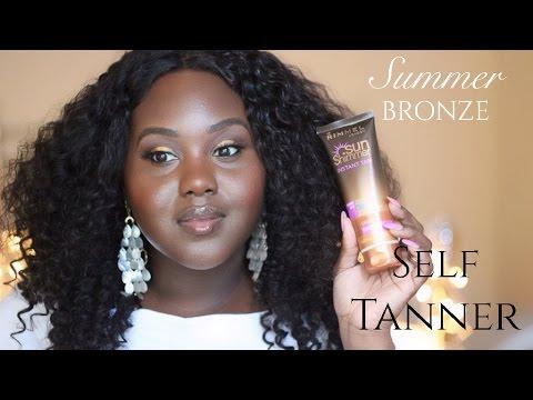 Summer Bronzed Glow With Instant Self Tanner On Dark Brown