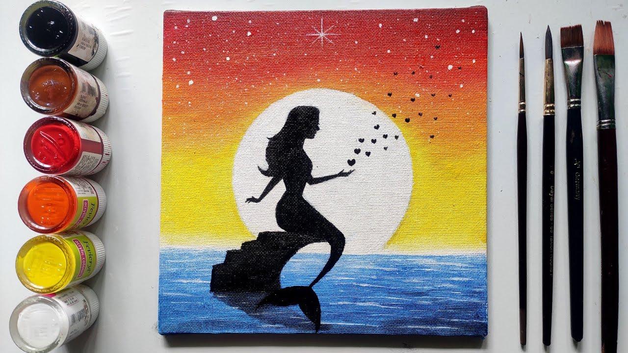 Step By Step Ariel Mermaid Painting For Beginners Youtube