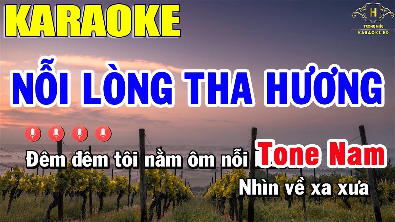 Nỗi Lòng Tha Hương Karaoke Tone Nam Nhạc Sống | Trọng Hiếu