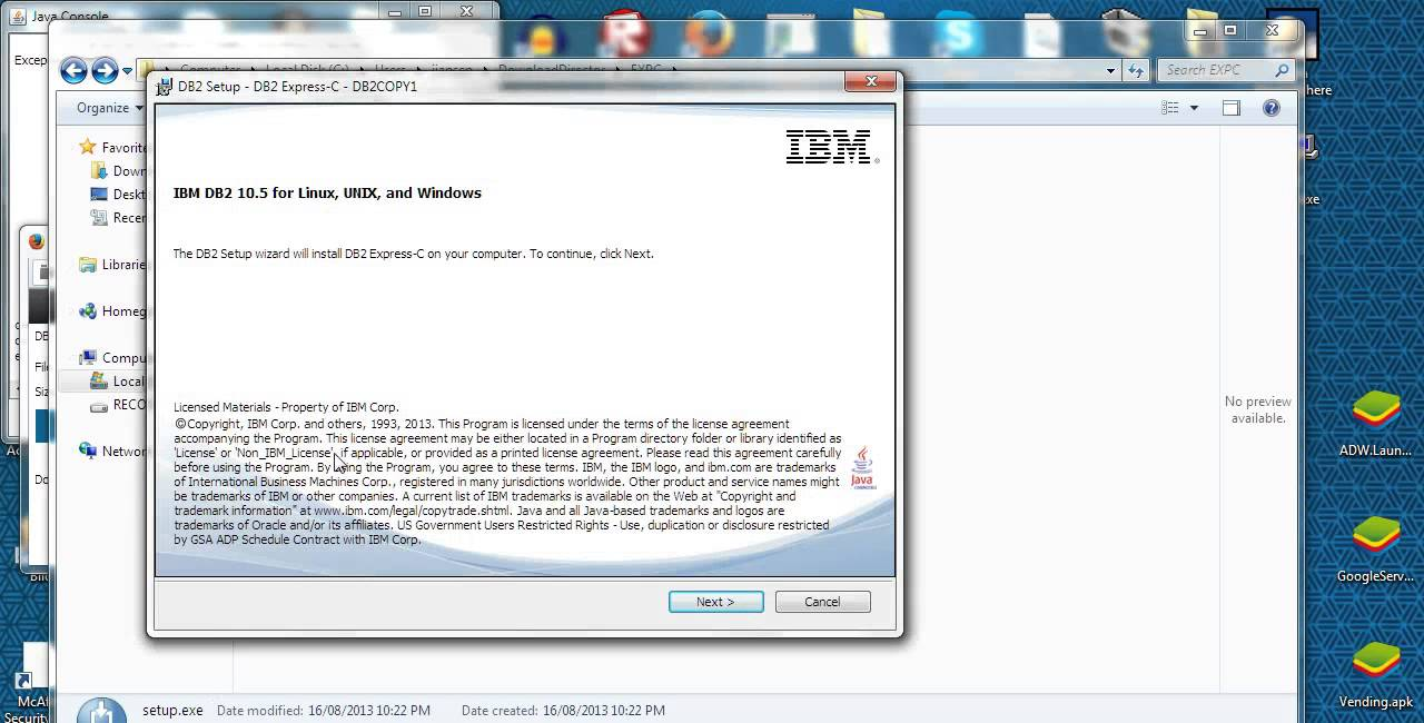 Install IBM db2 express database server C (v10 5) in Windows 7