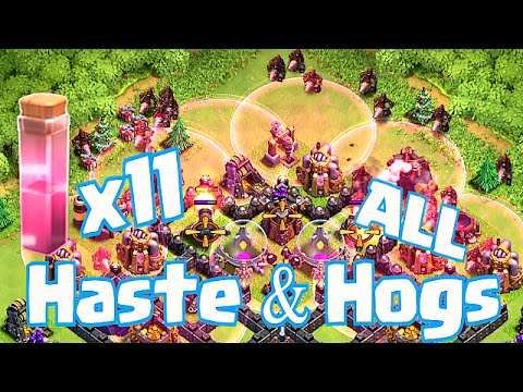 Clash Of Clans - ALL HASTE AND HOGS RAID!!! (Super Fast Troops!!!)