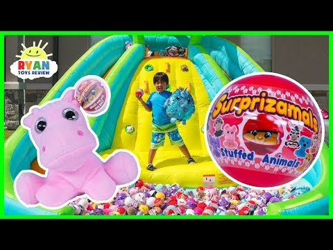 Huge Surprise Toys Challenge with Squeezamals, Surprizamals, and Shimmeez on the Inflatable Slide!!!